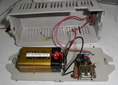Fig. 9 –Montagem final do carregador de celular com bateria de 9V