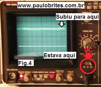 Fig.4 - Osciloscópio com a chave de acoplamento na posição DC