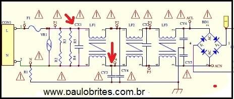 Fig. 1 - Filtro de linha de uma fonte chaveada