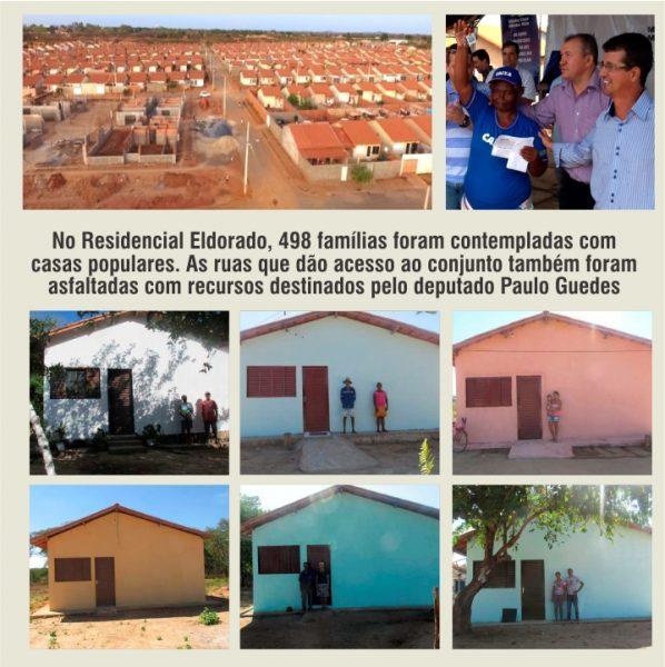 No Residencial Eldorado, 498 famílias foram contempladas com casas populares. As ruas que dão acesso ao conjunto também foram asfaltadas com recursos destinados pelo deputado Paulo Guedes