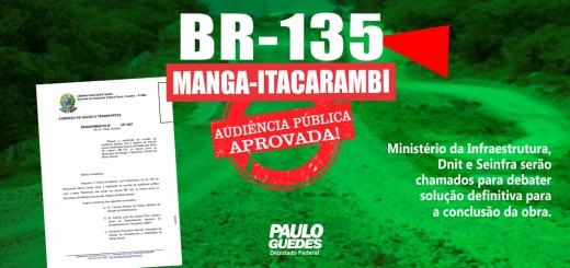 Aprovado requerimento para audiência pública sobre conclusão da BR-135 entre Itacarambi e Manga