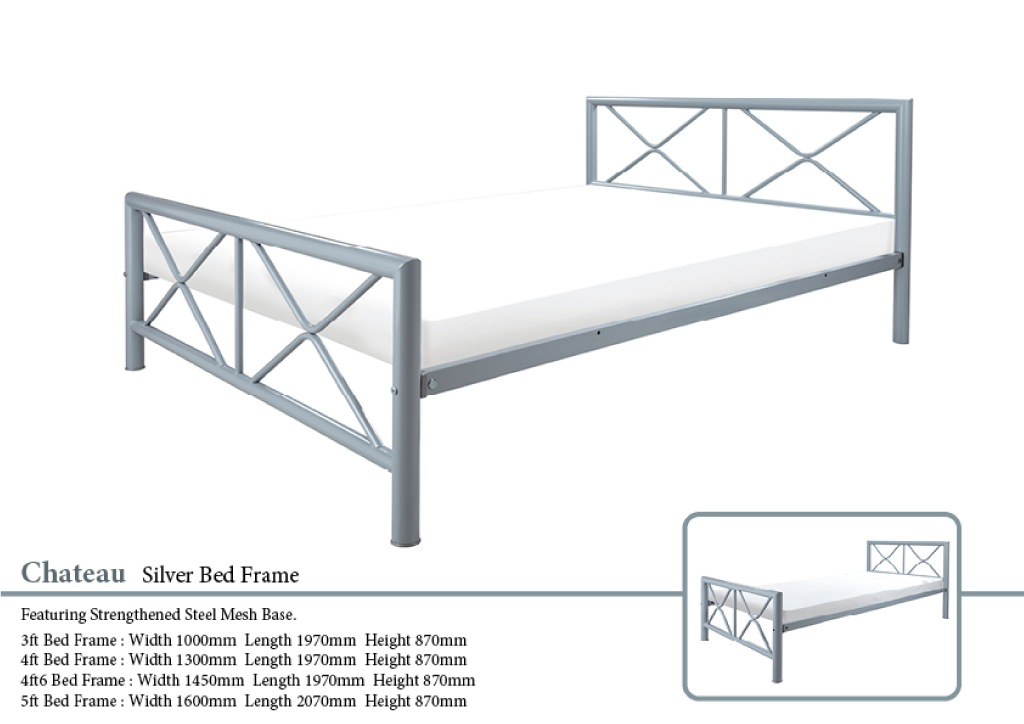 Chateau Silver Metal Bed Frame Paul Paice Blinds Beds