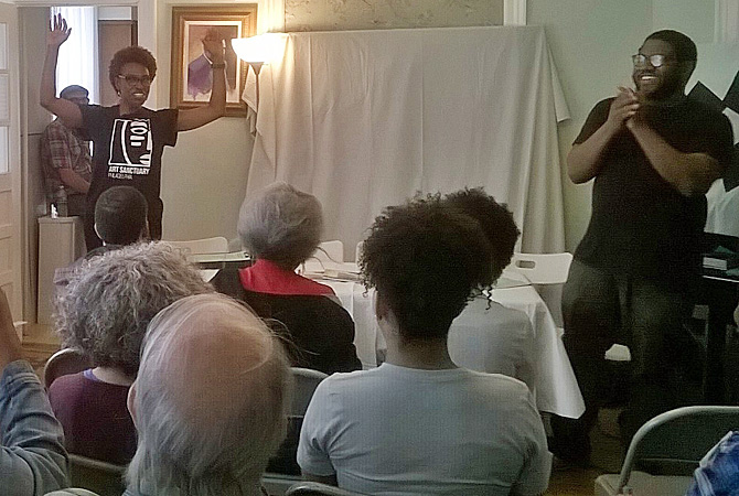 """The Mobiel Futures Institute was at the Paul Robeson House for a reading of his  testimony before the House Un-American Activities Committee in 1956. The reading was performed by the Paul Robeson Community Theater. Watch a video excerpt below and read the <a href=""""http://phlassembled.net/futures/blog/exploring_paul_robeson/""""><b>testimony</b></a>:   <iframe src=""""https://player.vimeo.com/video/219430326"""" width=""""640"""" height=""""360"""" frameborder=""""0"""" webkitallowfullscreen mozallowfullscreen allowfullscreen></iframe>"""