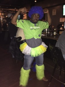 For the second straight year, Colin from the Blind Bear won a shame bet on the NFC championship game. Here's a pic of Joe in a tutu rooting for the Seahawks yesterday.