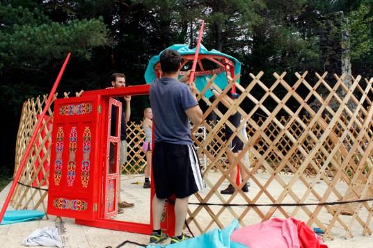Yurt assembly.