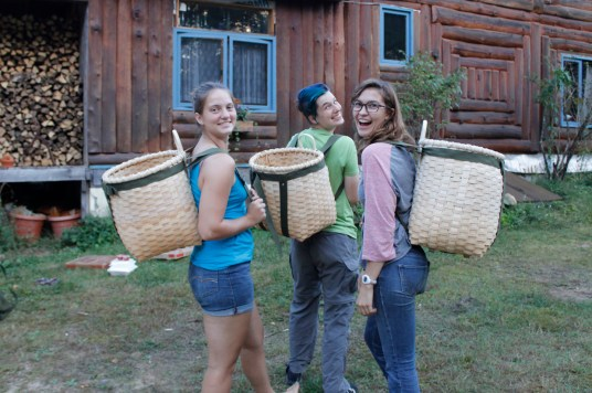 Three Osgood Pond Semester students show off their new packs.