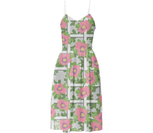 Paul S OConnor Rosa Trellis Textile Print Pattern Summer Dress