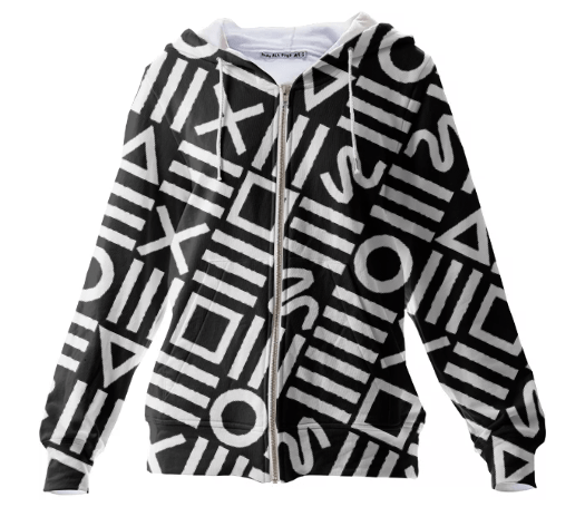 Paul S OConnor Rough Geometry Textile Pattern Print Hoodie Sweatshirt