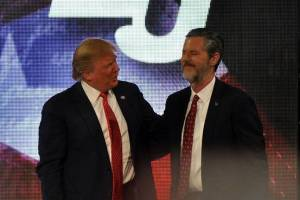 Donald Trump and Jerry Faldwell, Jr. at Liberty University. WSJ Blogs/2015