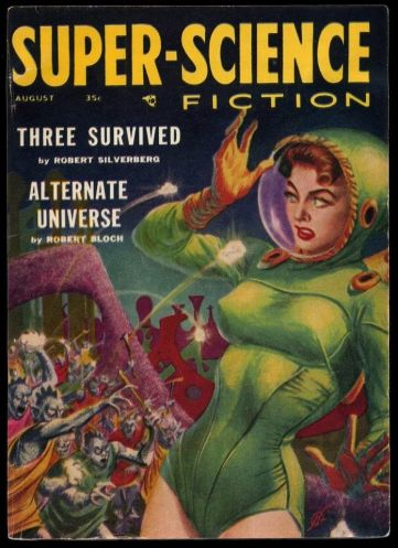 "A pulp sci-fi cover of ""super-science fiction"" depicting a white woman being menaced by a crowd of blue-skinned aliens."