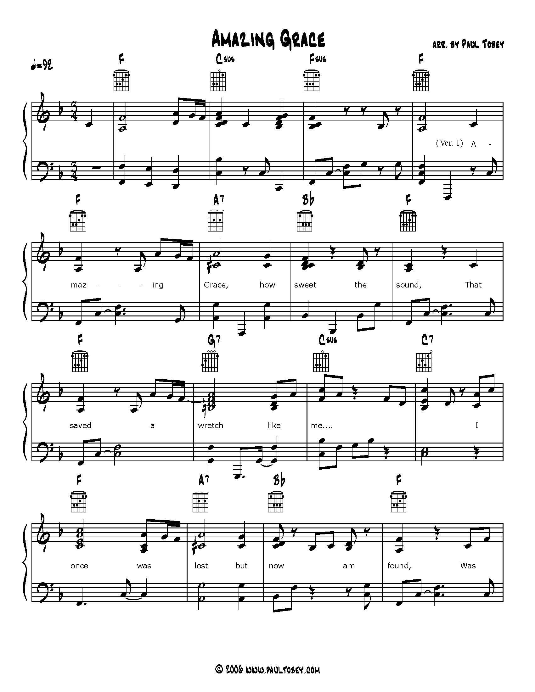 Amazing Grace Sheet Music Piano Amp Guitar
