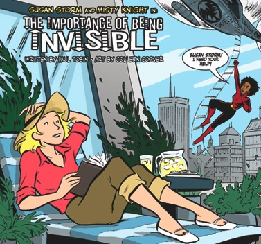 Part of the splash page to an upcoming story we're working on. It stars Sue Storm and Misty Knight. Colleen enjoys drawing Misty, so she was a given. And Sue Storm was a natural to play with her, since she works so well visually with Misty. Also, this will be appearing in Giant Size Fantastic Four # 1, so it's kind of Sue's book anyway. I should add that Jeff Parker's writing really changed my opinion of Sue Storm. Before Parker's writing, Sue always bored the hell out of me, but he made her the very dynamic, strong-willed leader of the FF, and all of a sudden she worked for me. I've kept up the same feel, I hope, in my own Fantastic Four writings. And I've had Colleen to help me. Everybody wins.