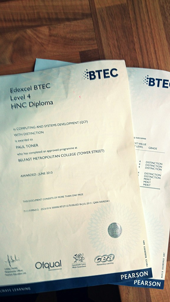 BTEC Cert - Distinction