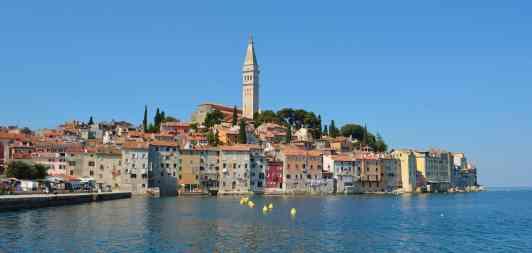 Rovinj old town peninsular with the Church of St. Euphemia on the Adriatic Coast Line Istria Croatia.