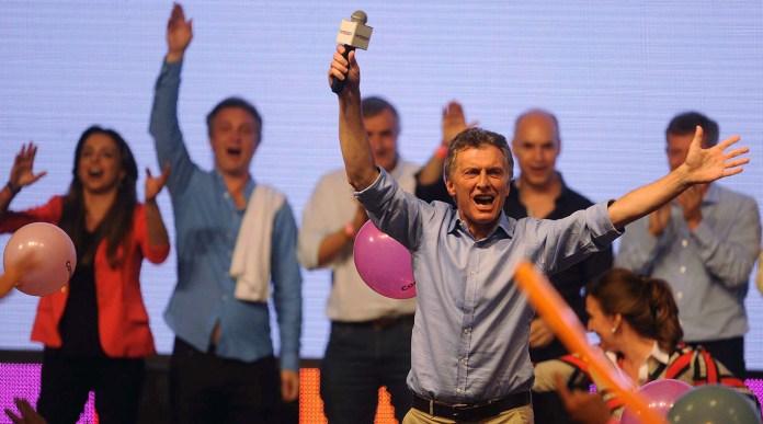Ya electo presidente, Mauricio Macri festeja con los simpatizantes de Cambiemos en Costa Salguero.