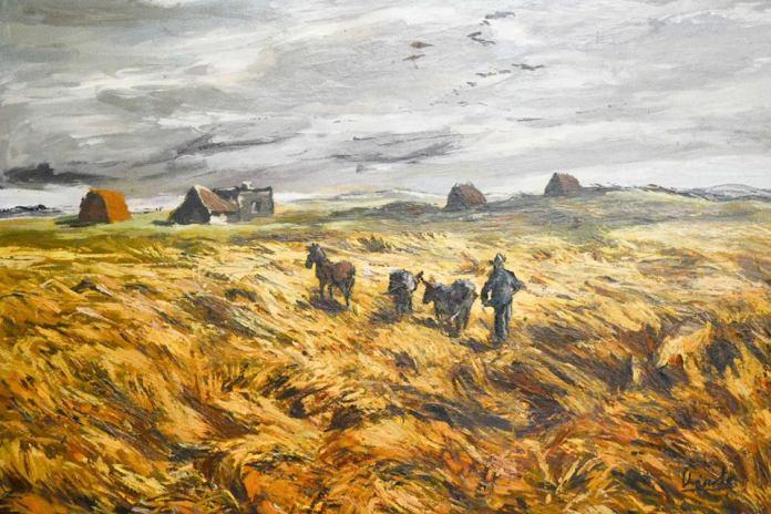 Carlos Uriarte, Tormenta en Monje, s/f, óleo s/cartón, 66 x 93 cm. Una de las obras de la muestra curada por Fantoni.