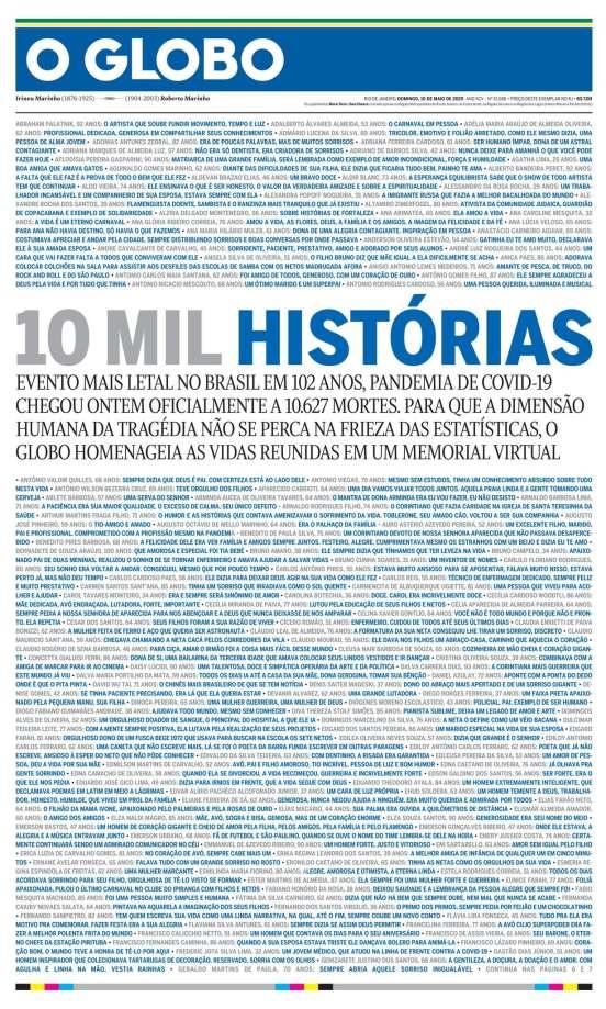 O Globo, con la idea original de hacer un listado de muertes por coronavirus.