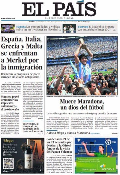 Tapa El País - Maradona