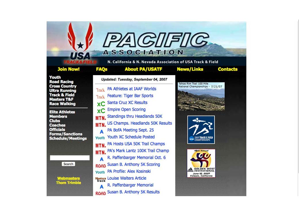 2007 PA/USATF.org Front Page