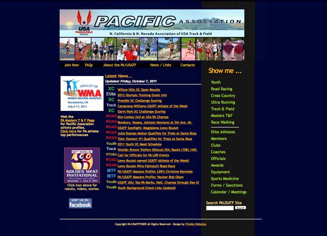 2011 pausatf.org Front Page