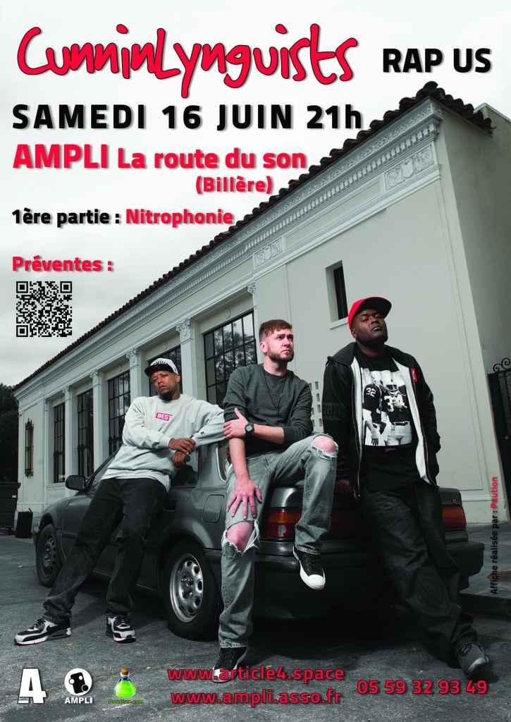 Affiche CunninLynguists concert à PAU Billère AMPLI