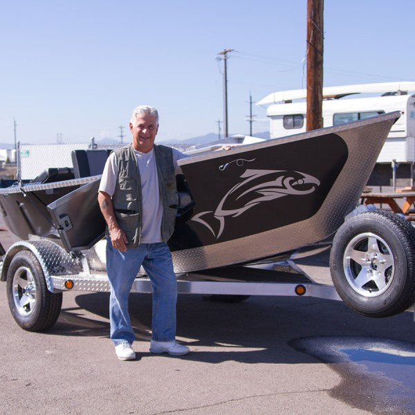 Another happy Pavati Marine customer with his brand new 16x55 black Drift Boat with diamond plating