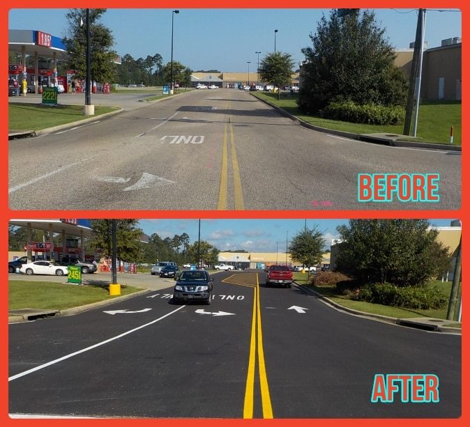Before and After Striping Asphalt