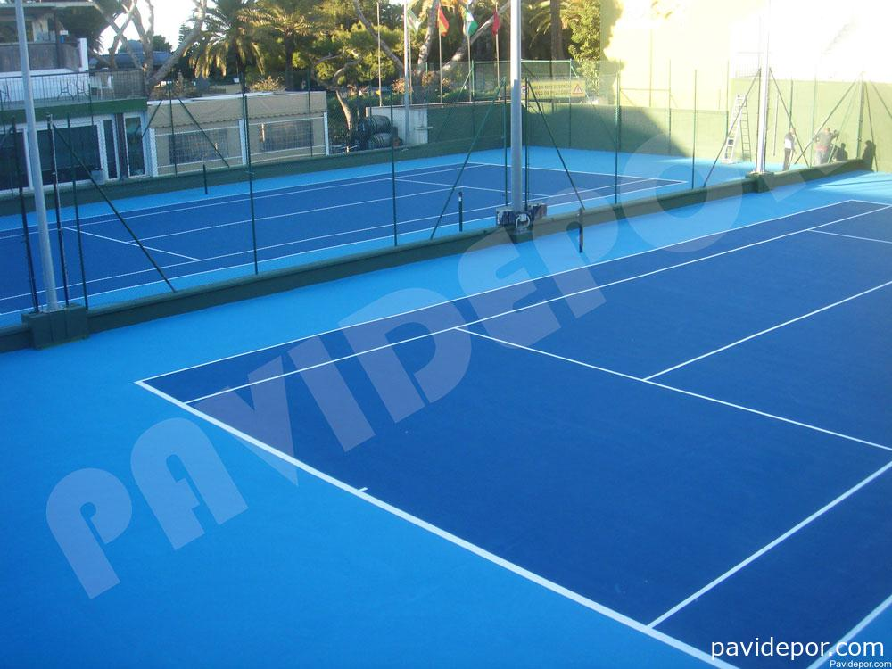 Pavimento deportivo de tres capas de resinas para pistas de tenis