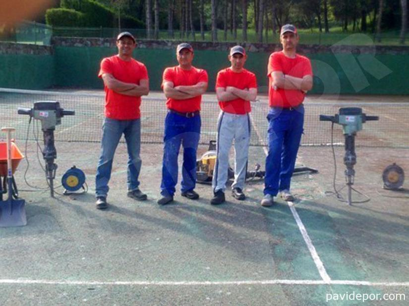 Reparación Pista de tenis con hormigón poroso en Madrid 01
