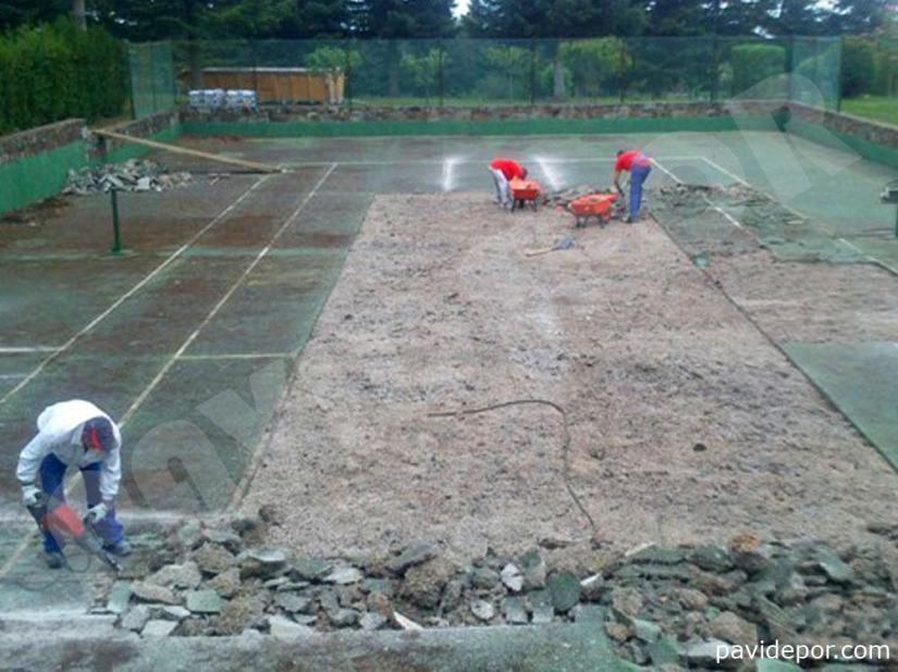 Reparación Pista de tenis con hormigón poroso en Madrid 04