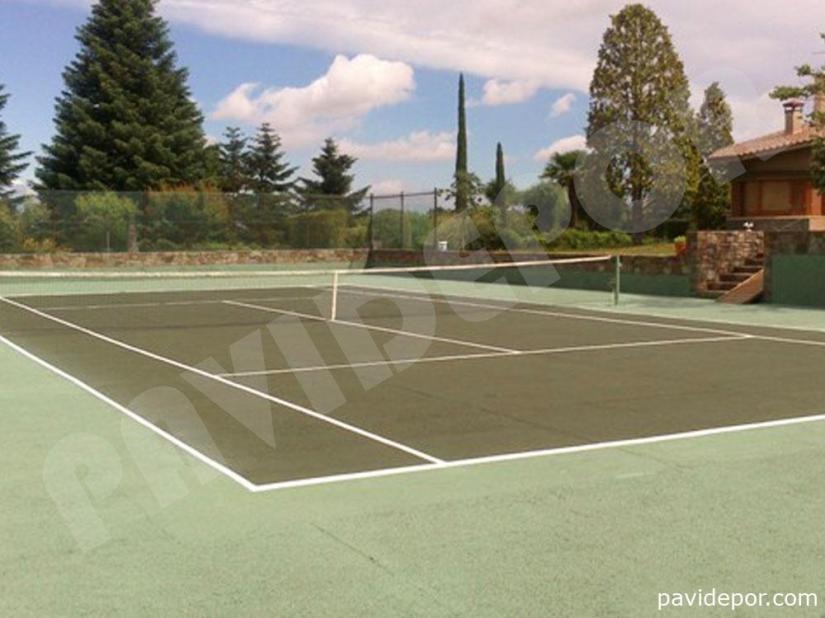 Reparación Pista de tenis con hormigón poroso en Madrid