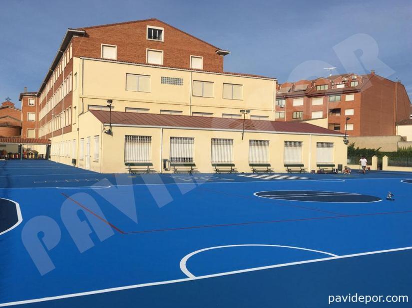 Resultado reparación pista deportiva de colegio San Vicente de Paul, de Benavente, Zamora