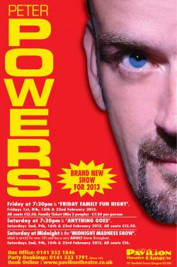 Peter Powers at the Pavilion Theatre, Glasgow