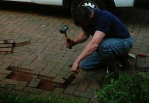 Lift and relay block paving with the help of tools
