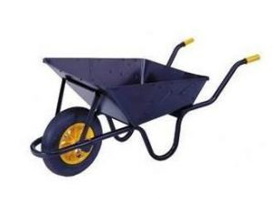 A wheelbarrow can be used for lifting and carrying paving blocks and slabs