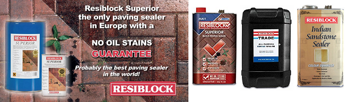Resiblock paving sealer. Many different kinds of sealers you can buy for sealing all kinds of paving