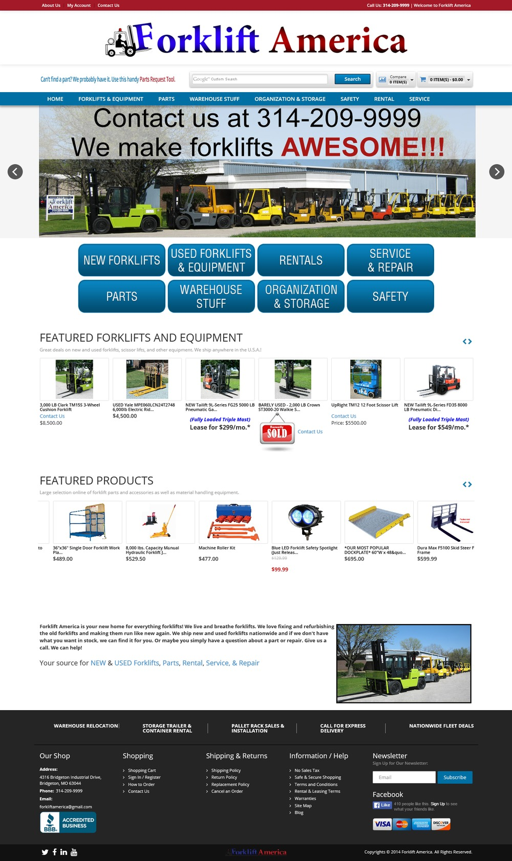 Shopping Cart of Fork Lift America - Successfully Delivered Projects On-Time and On-Budget. Improved Website Conversation Rate By 80% Against Existing Control.