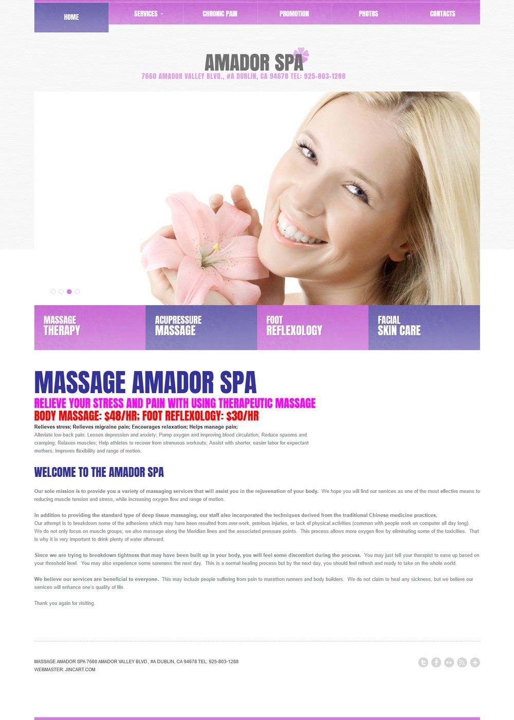 Massage Amador Spa - Successfully Delivered Projects On-Time and On-Budget. Improved Website Conversation Rate By 80% Against Existing Control.