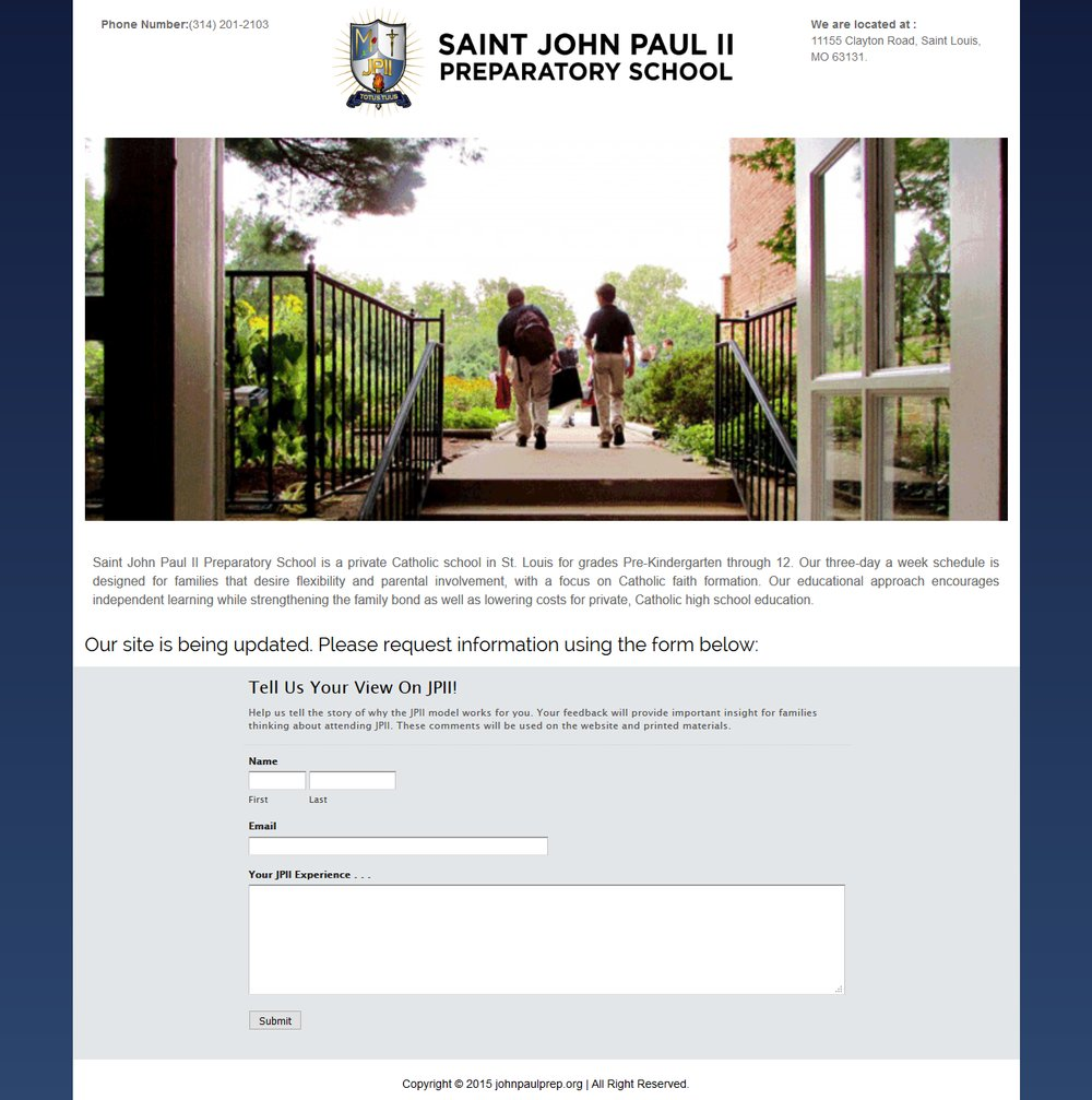 Saint John Paul Responsive Website Design - Successfully Delivered Projects On-Time and On-Budget. Improved Website Conversation Rate By 80% Against Existing Control.