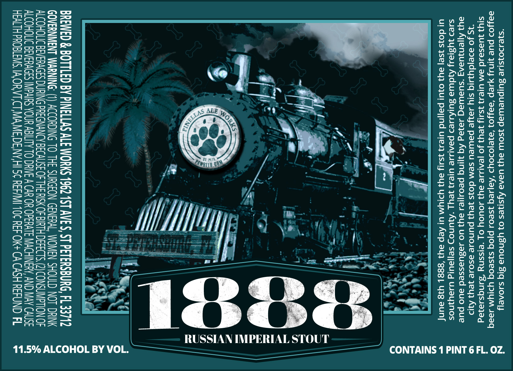 1888 Russian Imperial Stout Label by Pinellas Ale Works
