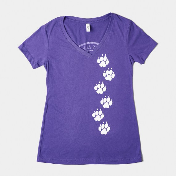 """Front image of the """"PAW Prints"""" t-shirt in purple"""