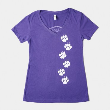 "Front image of the ""PAW Prints"" t-shirt in purple"
