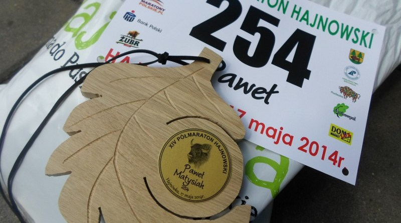 XIV Półmaraton Hajnowski - numer i medal