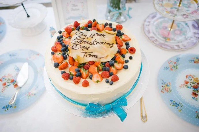 christening baptism cake with fruits
