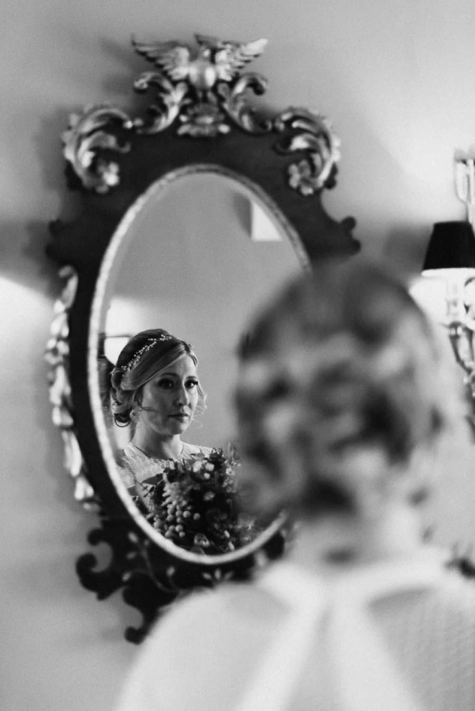 Bride in mirror, markree castle
