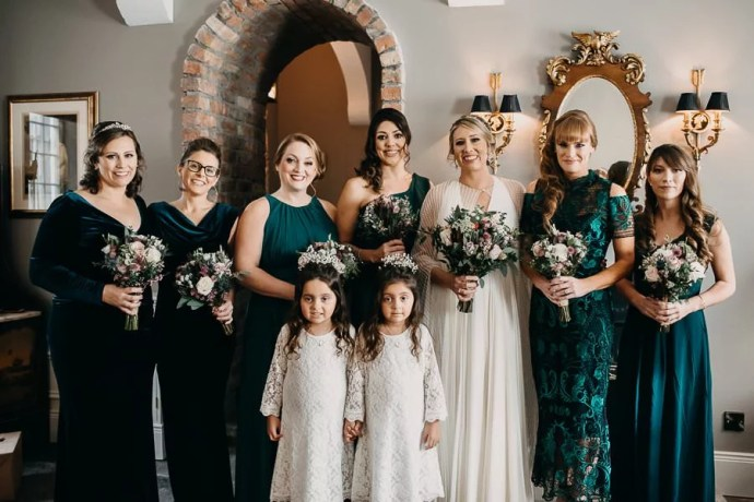 bride and bridesmaids in Markree Castle, Sligo wedding