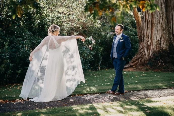 Bride and groom in Markree Castle Garden