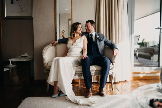 bride and groom in the luxurious bridal suite in the g hotel galway