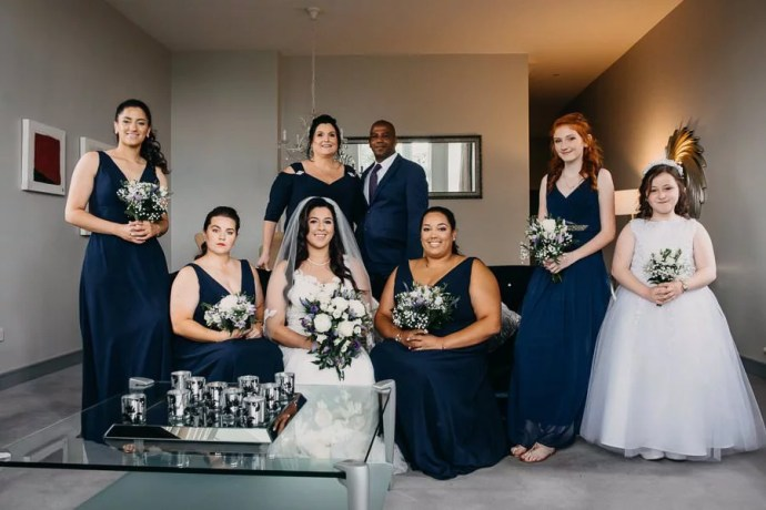 bride's family wedding portrait in Clayton Hotel Sligo