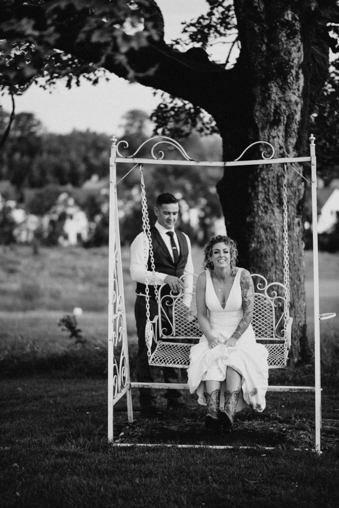bride and groom on castle dargan swing